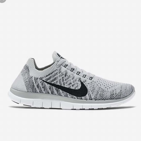 Nike Free 4.0 Flyknit Platine Pur / Blanc / Froid Pluie Grise / Tissu Noir